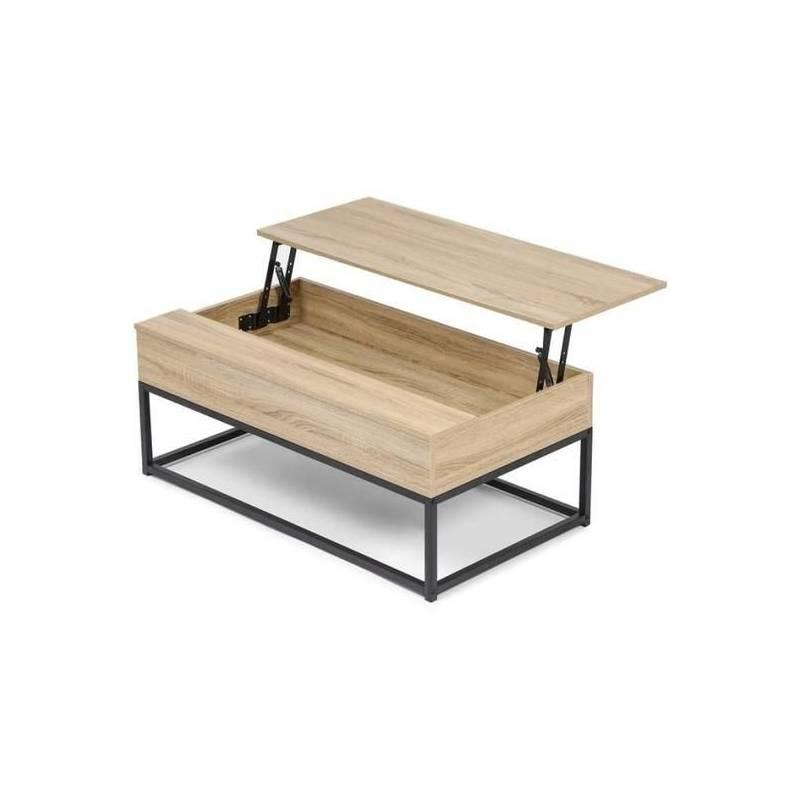 table basse plateau relevable industrielle 2 en 1 100 55 40 5 cm