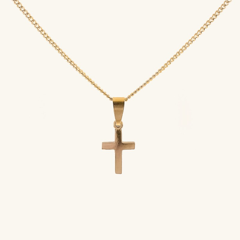 Gold plated necklace with cross pendant jewelry