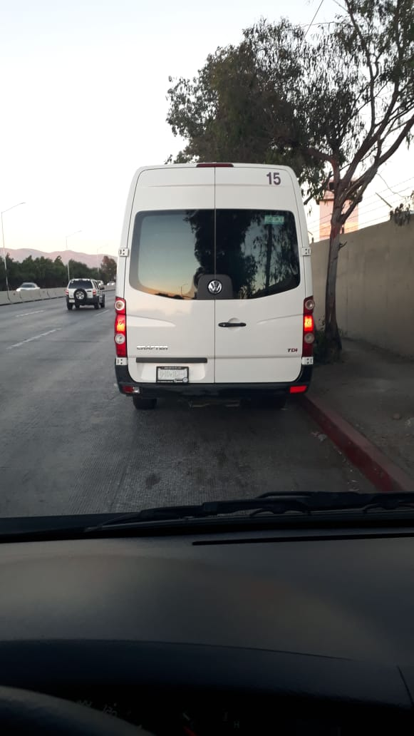 Rear view of the 19 passenger Van