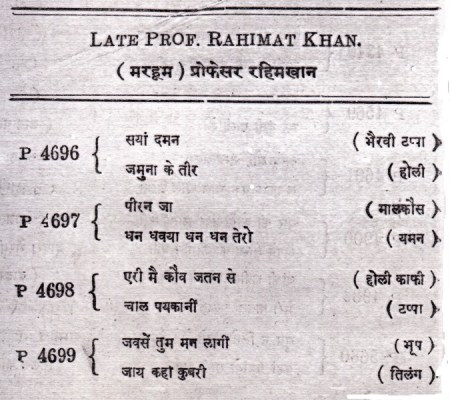 Rahimat Khan Catalogue