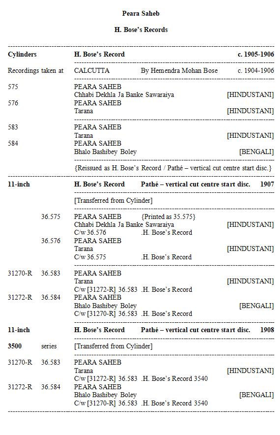 Peara Saheb Discography, Page 2