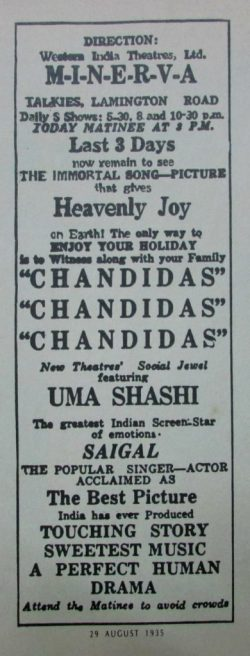 Avertisement for Chandidas, 1935, K.L. Saigal