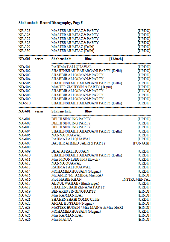 Shahenshahi Record Discography, Page 5
