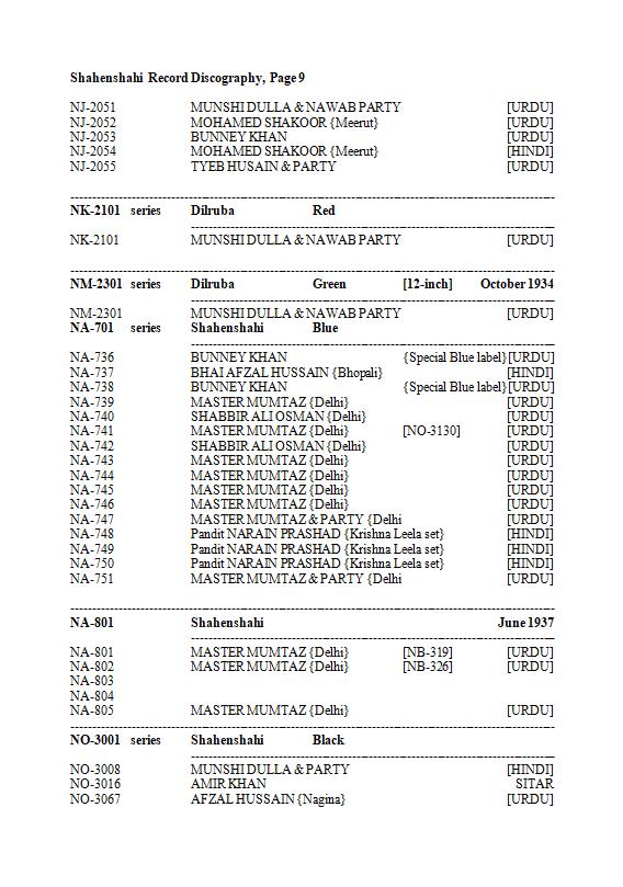 Shahenshahi Record Discography, Page 9