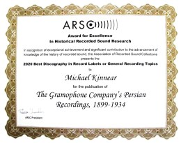 ARSC Award for Excellence, Michael Kinnear, 2020
