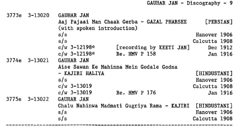 Gauhar Jan Discography, Page 9. by Michael Kinnear