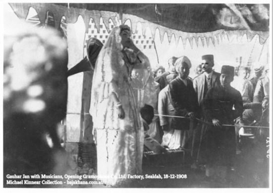 Gauhar Jan with Musicians, Sealdah 18-12-1908