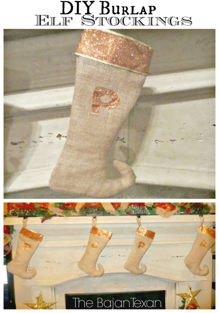DIY Christmas Stockings - Make your own custom burlap elf stockings with this handy, step-by-step tutorial!