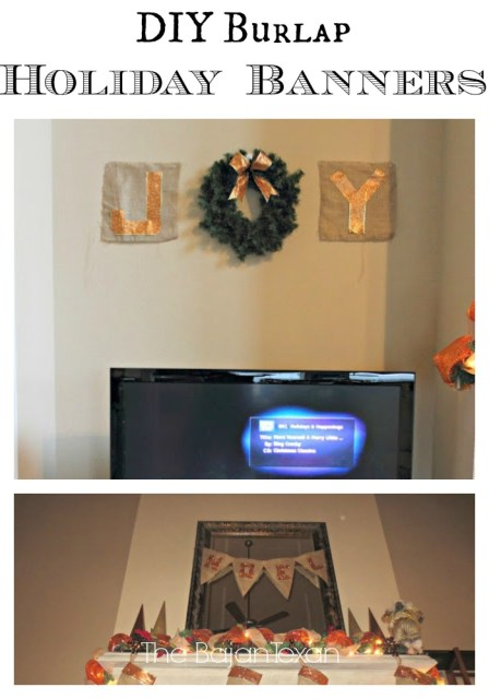 DIY Burlap Christmas Banners - Learn how to make beautiful holiday decor using burlap. So easy and quick projects you can make yourself!