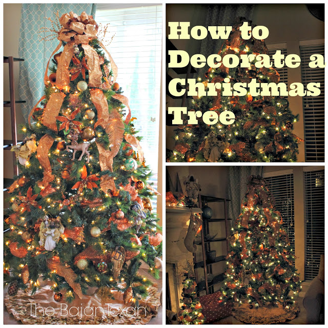 How to Decorate a Christmas Tree - Check out these step-by-step pics on how to decorate a Christmas Tree! You'll also love my copper tree!