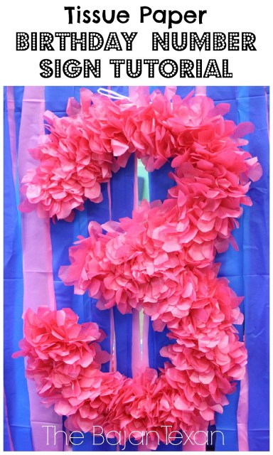 DIY Party Decor: Tissue Paper Birthday Number Sign Tutorial - Make your own birthday party number sign. It's so easy and fun even the kids can help out!