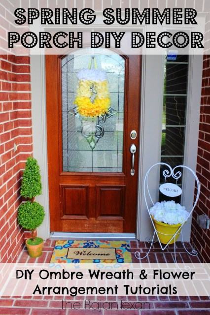 Spring Summer Porch DIY Decor - Make your own decor to welcome spring and summer! Takes only minutes to make and super fun too!