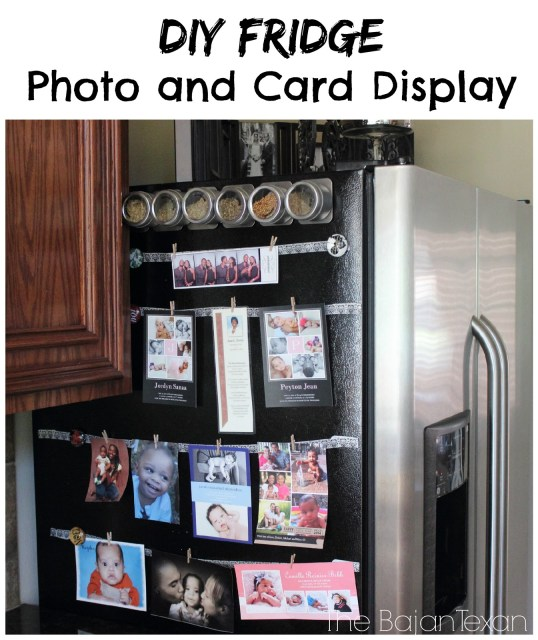 DIY Fridge Photo Display: How to Showcase Your Photos & Cards on Fridge - Super quick, easy, and cute idea for displaying your fave photos on your fridge!