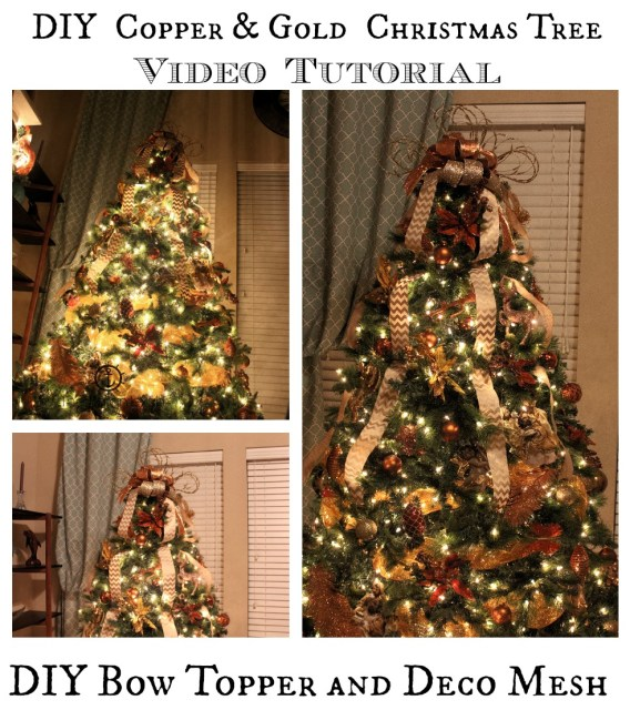 decorate christmas tree video tutorial with bow topper and deco mesh diy copper gold