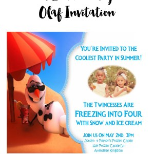 Frozen party olaf invitations