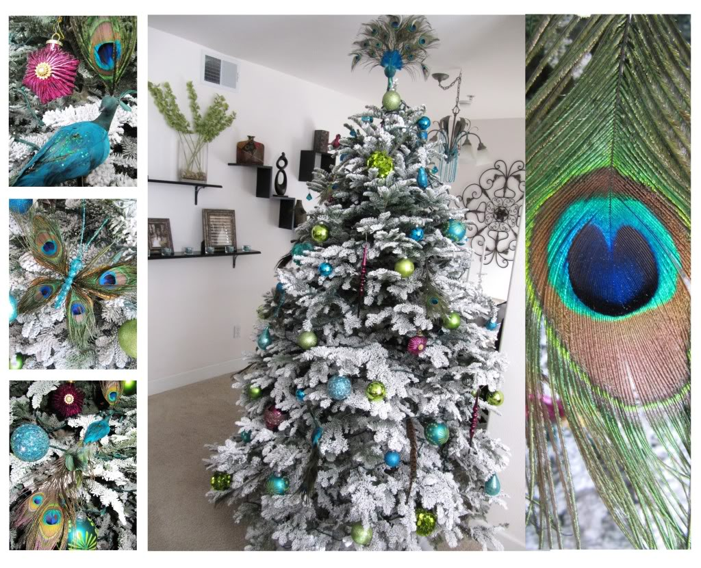 peacock themed christmas tree - Peacock Themed Christmas Tree