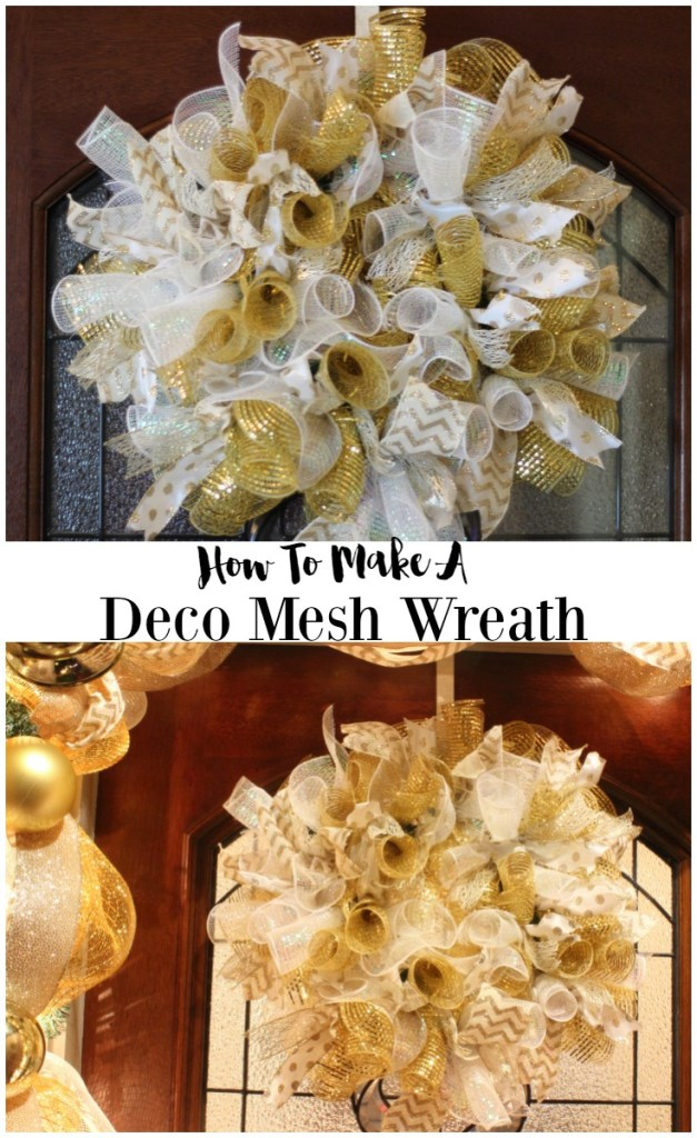how to make a deco mesh wreath for christmas
