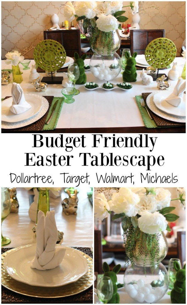 green easter tablescape dollar tree