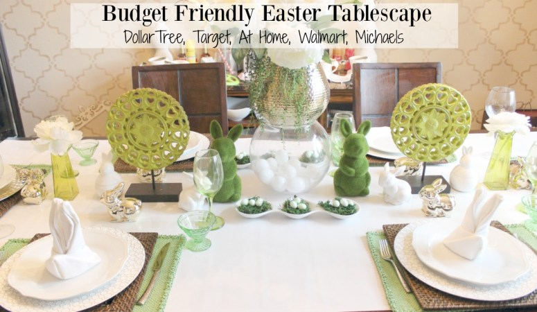 Budget Friendly Easter Tablescape (Spring Tablescape Blog Hop)
