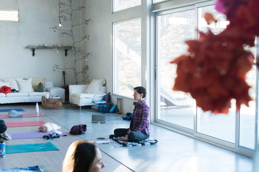 meditation class in a yoga studio