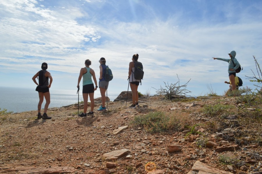 a group of hikers in the Baja dsert