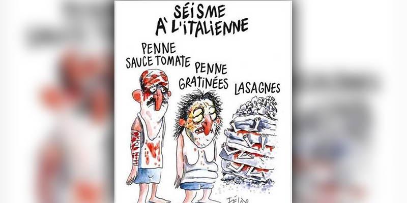 Indigna a Italia portada de Charlie Hebdo sobre terremoto