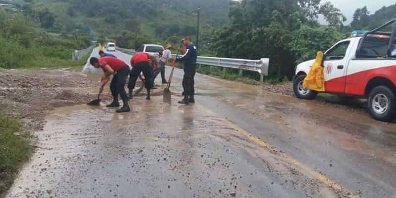Deslave y caída de árboles provoca cierre en la Chilpancingo-Tlapa