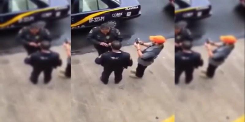 Hombre amenza con disparar en la cabeza a policías [VIDEO]