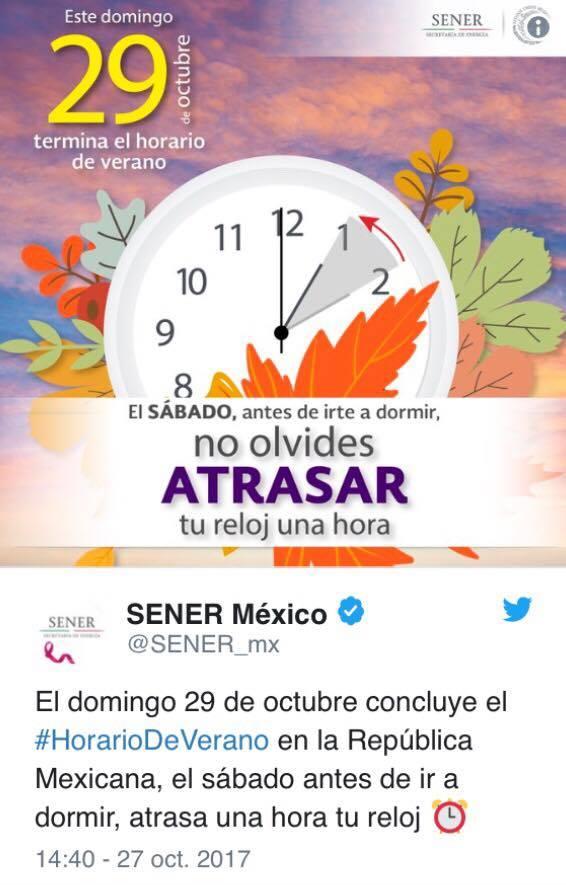 Este domingo los mexicanos atrasarán sus relojes una hora 1