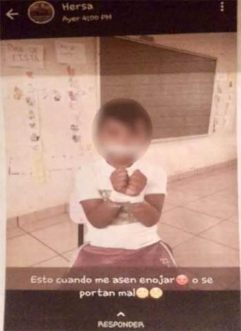 Maestro amarra a niño de 5 años y lo presume en Whatsapp 1