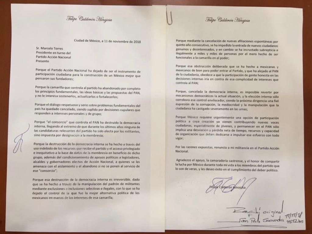 Felipe Calderón renunció al PAN 1
