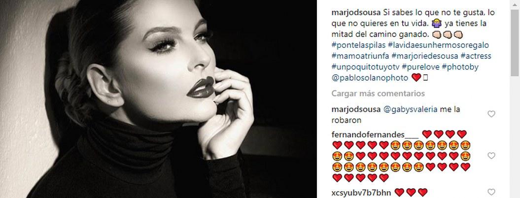 Marjorie de Sousa denuncia hackeo de su cuenta de Instagram