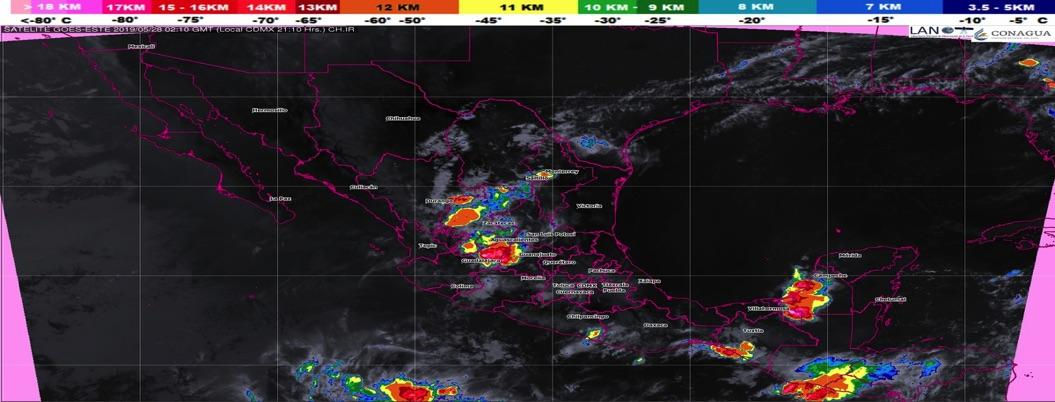Pronostican tormentas de intensidad variada en 16 estados del país