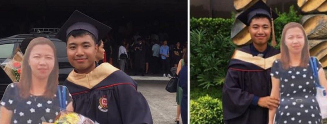 Estudiante lleva foto de su madre fallecida en tamaño real a su graduación