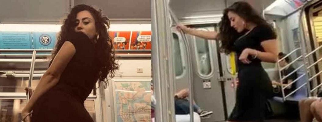 La captan infraganti cuando posa para selfies en el Metro
