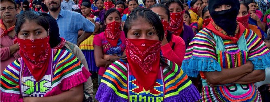 Mujeres zapatistas participaron en el paro del 9M