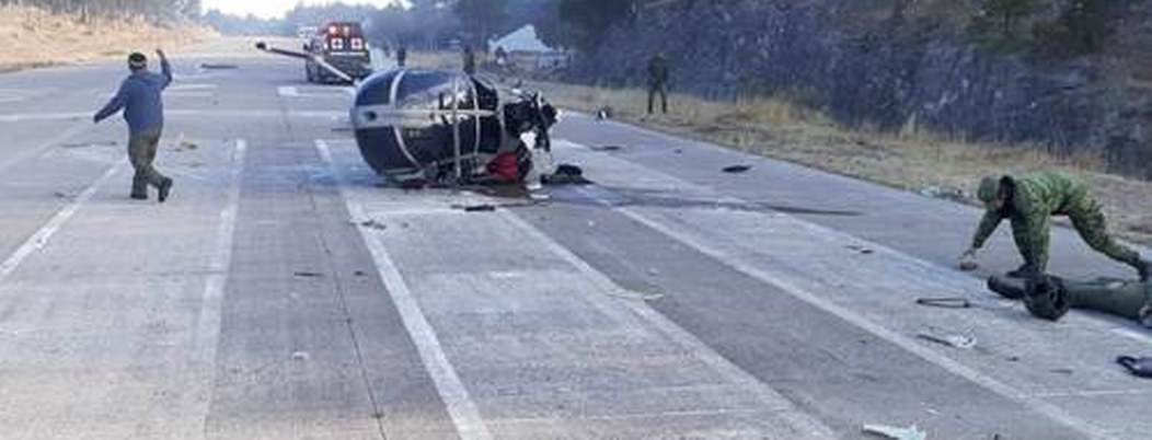 Cae helicóptero de la Sedena; cuatro militares heridos