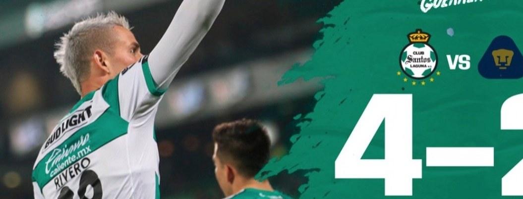 Santos vence a Pumas en octavos de ida de la Copa MX