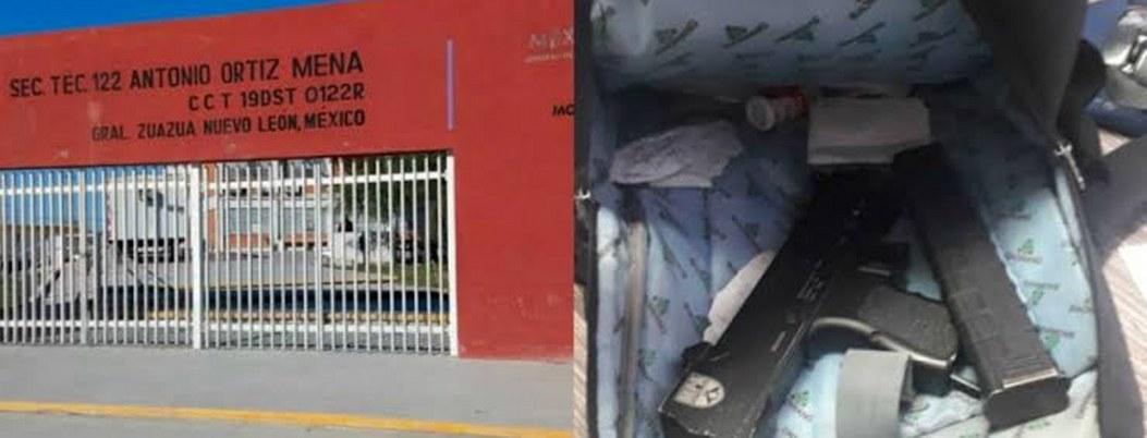 Encuentran subametralladora en la mochila de estudiante de NL