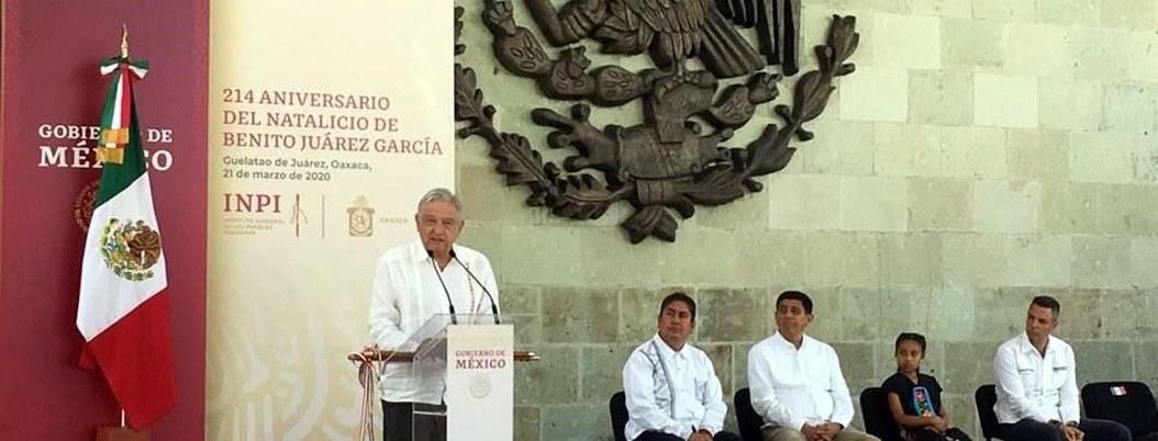 AMLO celebra el ejemplo y enseñanzas de Benito Juárez