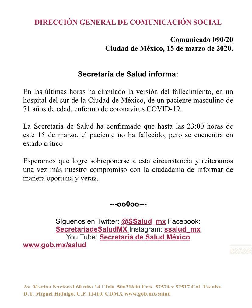 Salud tira versión de muerte de primo de Carlos Slim por COVID-19 1
