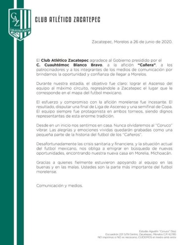 Comunicado Zacatepec