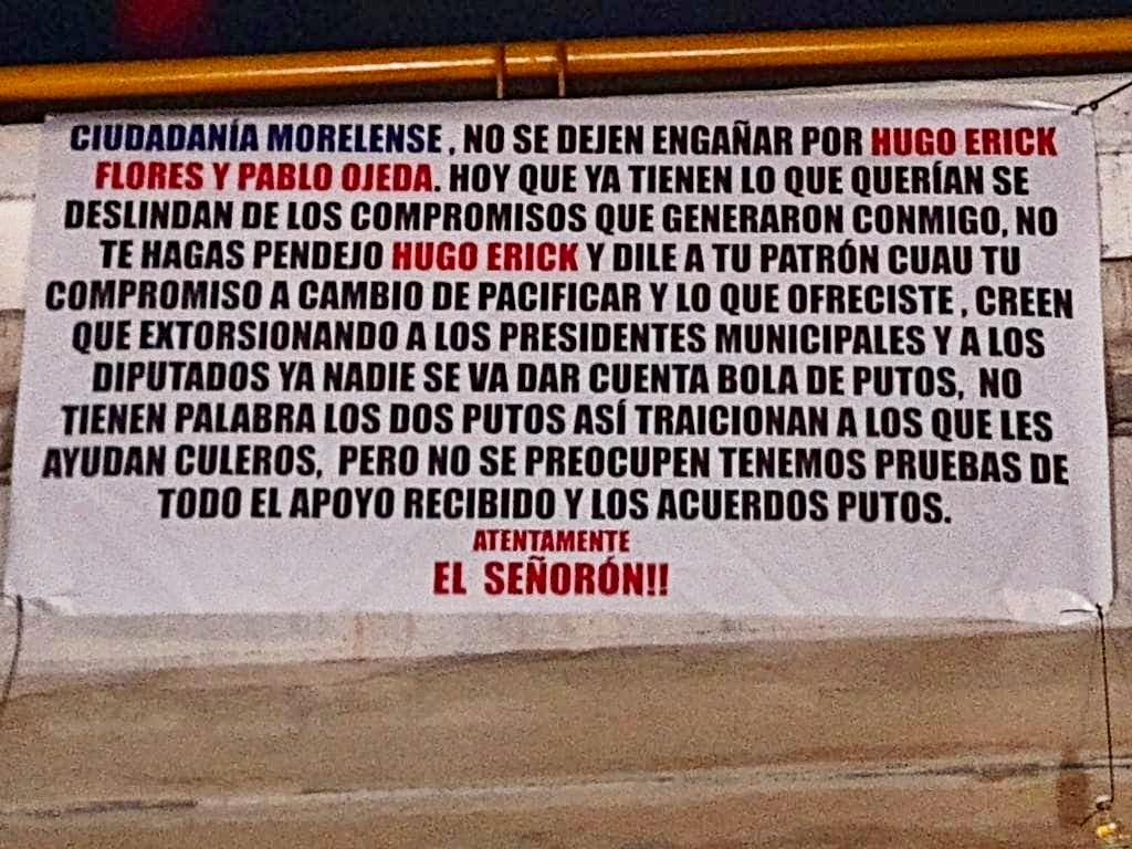 Vinculan a delegado de AMLO con el narco; cuelgan manta en Morelos 1