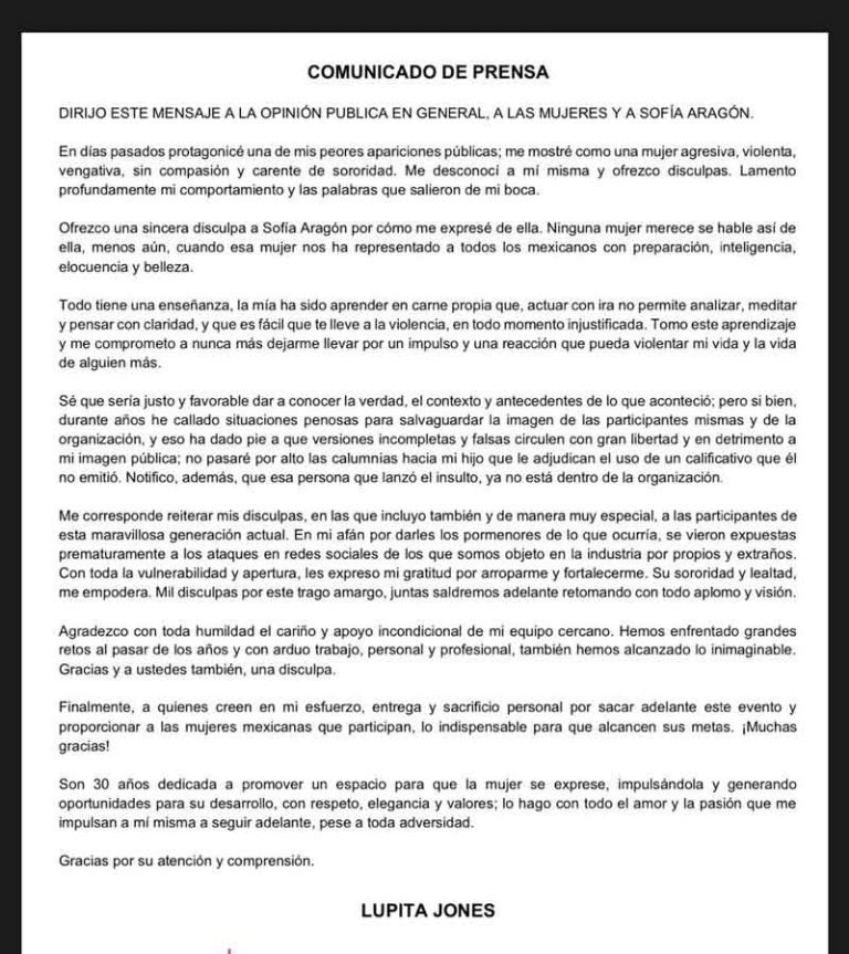 """""""Se equivocó"""": Lupita Jones ofrece disculpa a Sofía Aragón 2"""
