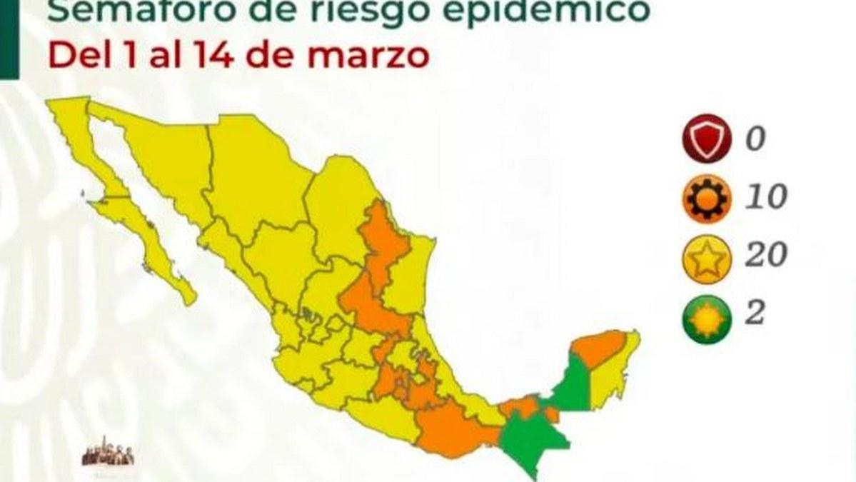 Adiós al rojo en México; mayoría de estados avanzan al amarillo 2