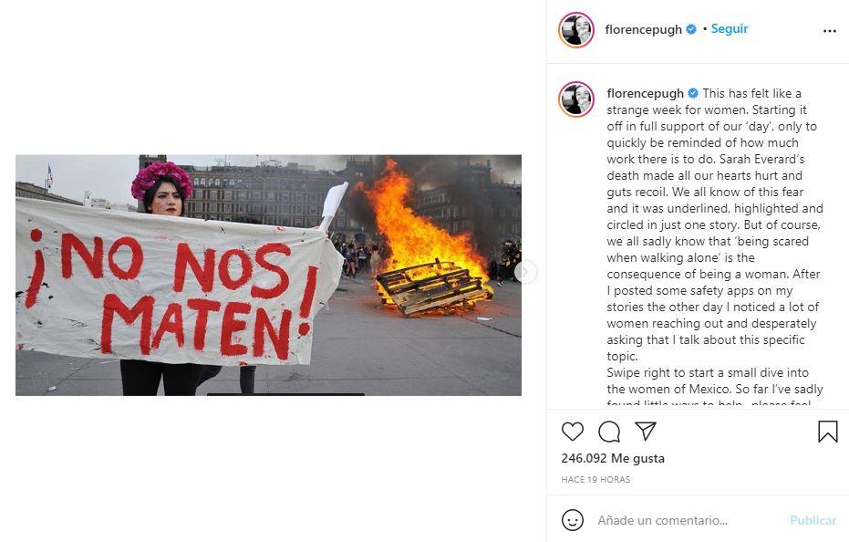 Florence Pugh reacciona en sus redes a los feminicidios en México 2