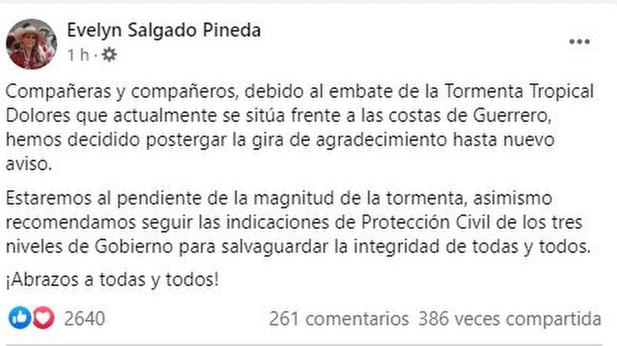 """Evelyn Salgado suspende """"gira de agradecimiento"""" por lluvias en Guerrero 2"""
