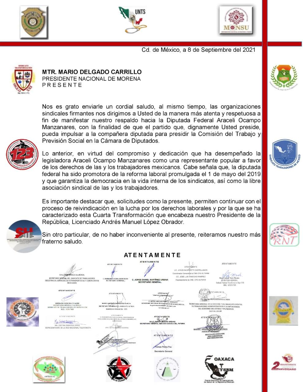 Sindicatos respaldan a la diputada Araceli Ocampo para presidir Comisión del Trabajo 2