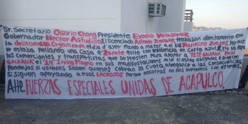 Acusan en narcomanta a abogado de asesinato en Caleta de Acapulco