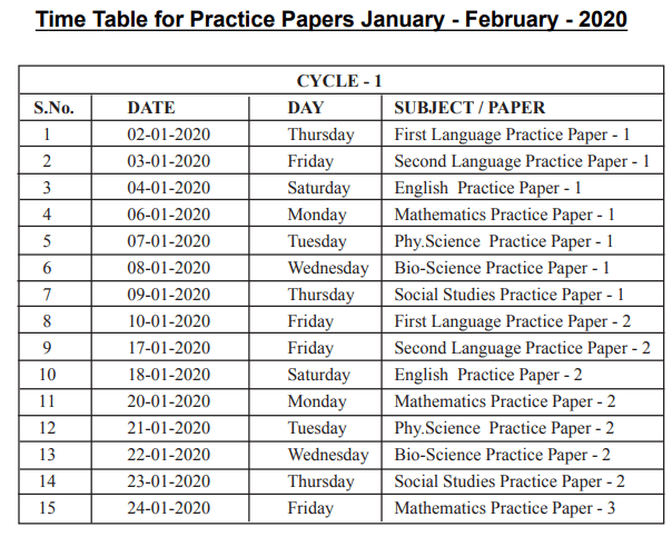 SSC Practice Papers Time Table jan - feb 2020
